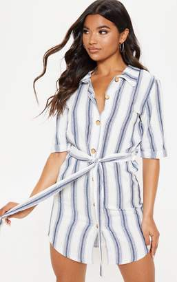 PrettyLittleThing Blue Woven Stripe Button Through Shirt Dress