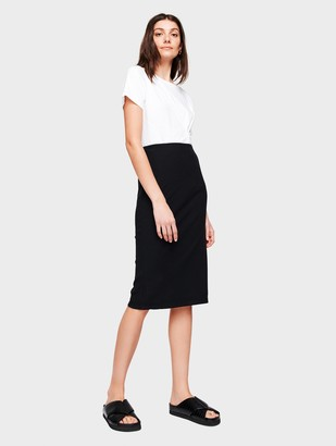 White + Warren Cotton Ribbed Pencil Skirt