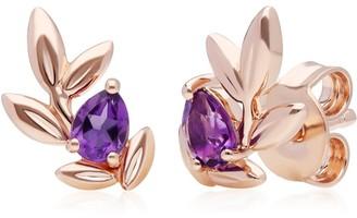 Gemondo O Leaf Amethyst Earrings In Rose Gold