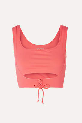 YEAR OF OURS Corset Lace-up Cutout Stretch Sports Bra - Coral