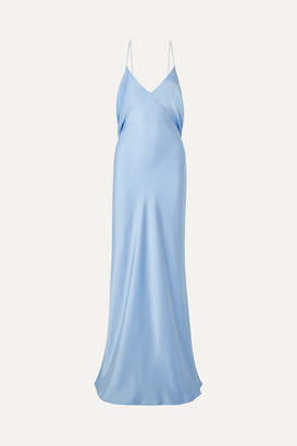 The Row Gran Open-back Draped Silk-satin Gown - Light blue