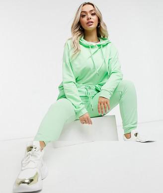ASOS DESIGN tracksuit hoodie/slim sweatpants with tie in organic cotton in apple green
