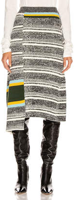 Victoria Beckham Asymmetric Flared Skirt in Black & White Multi | FWRD
