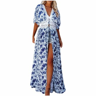 YAAY Women's Long Beach Kimono Open Front Strappy Cardigan Lace Patchwork Blue and White Floral Print Swimsuit Cover Up