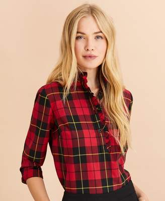 Brooks Brothers Plaid Flannel Pop-Over Shirt