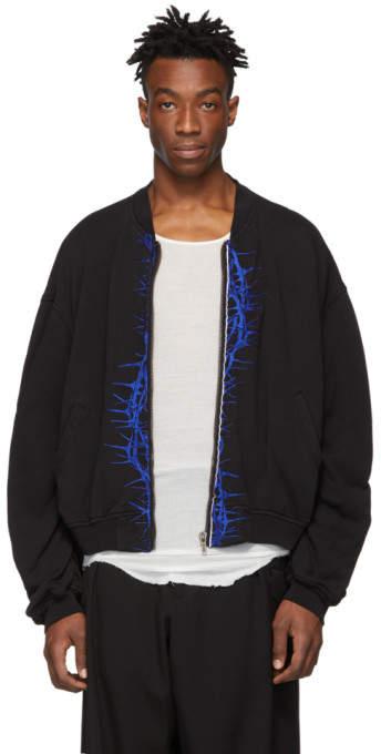 Haider Ackermann Black Jersey Embroidered Perth Bomber Jacket