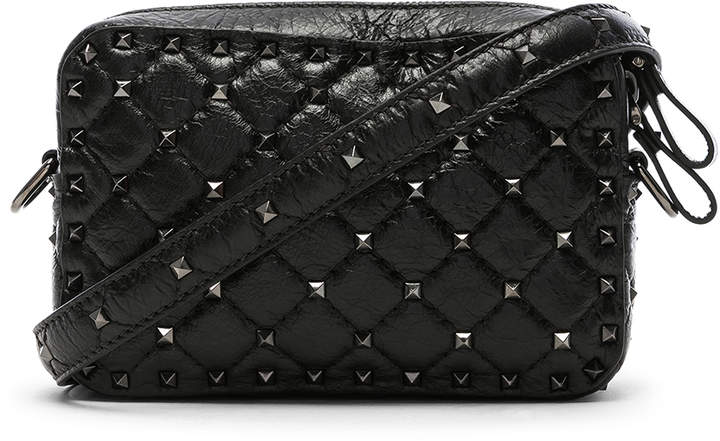 Valentino Rockstud Spike Crossbody Bag in Black | FWRD