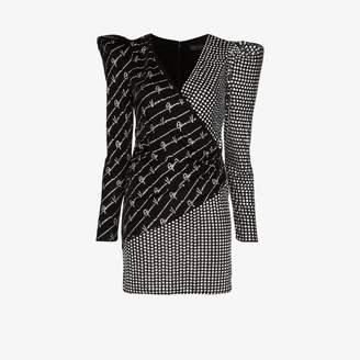 Versace Womens Black V-neck Crystal Embellished Mini Dress