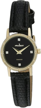 Peugeot Women's 3050BK 14K Gold Plated Genuine Diamond Marker Black Face Leather Dress Analog Display Analog Quartz Black Watch