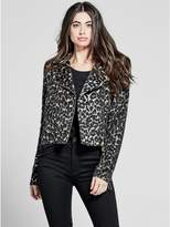 GUESS by Marciano Women's Amara Leopard Moto Jacket