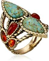 Barse Bronze and Genuine Stone Ring