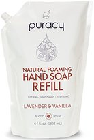 Puracy Natural FOAMING Hand Soap 64 oz Refill, Sulfate Free Foam, Developed by Doctors for All Skin Types, Lavender and Vanilla, 64 Ounce Pouch