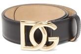 Dolce & Gabbana Logo-buckle Leather Belt - Womens - Black Gold
