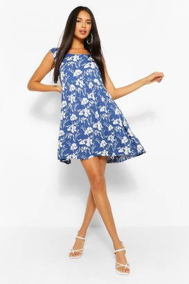 boohoo Floral Sleeveless Smock Dress