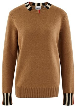 Burberry Icon Stripe Trim Cashmere Sweater