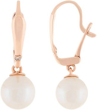 Splendid Pearls 14K Rose Gold Diamond & 8-8.5Mm Pearl Earrings