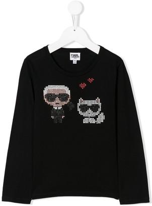 Karl Lagerfeld Paris embellished long sleeved T-Shirt