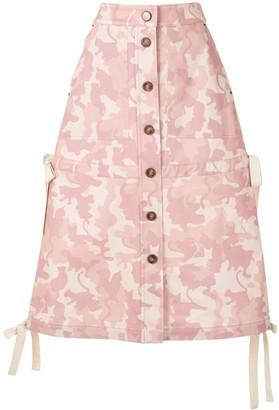 VIVETTA Printed Button-Down Midi Skirt