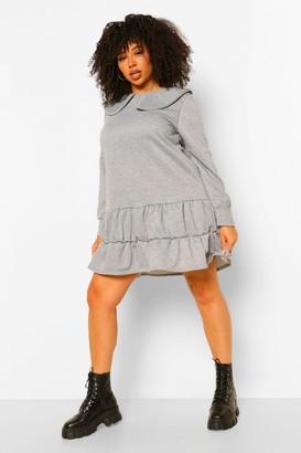 boohoo Plus Collar Sweat Smock Dress