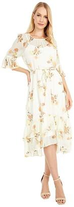 Calvin Klein Floral Print Chiffon Dress with Ruffle Cuff and Hem (Luggage Multi) Women's Dress