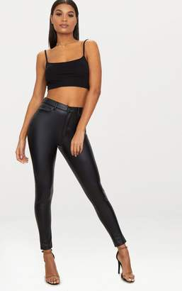 PrettyLittleThing Black Button Up PU Skinny Trouser