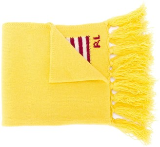 Polo Ralph Lauren Logo Embroidered Fringed Scarf