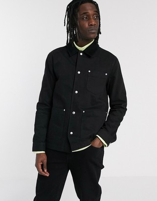 ASOS DESIGN denim worker jacket in black with cord collar
