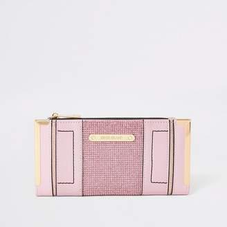River Island Pink diamante embellished metal corner purse