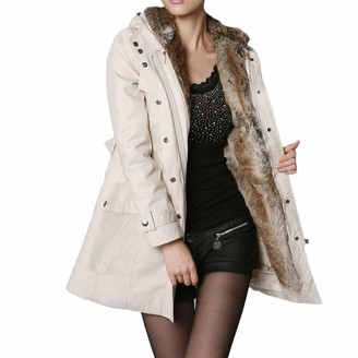 LEXUPE Women Autumn Winter Warm Comfortable Coat Casual Fashion Jacket Ladies Fur Lining Coat Womens Winter Warm Thick Long Jacket Hooded Parka Beige