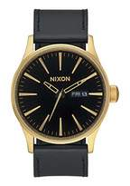 Nixon Sentry Leather A105513-00. Gold and Black Men's Watch (42mm Watch Face/ 23mm Black Leather Band)
