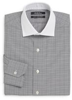 Saks Fifth Avenue Thomas Mason Cotton Slim-Fit Contrast-Collar Plaid Dress Shirt