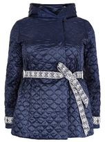 Marina Rinaldi Quilted Embroidered Belt Coat