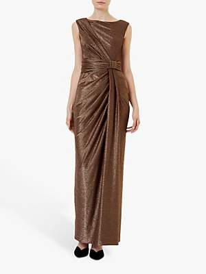 Hobbs Mia Glitter Maxi Dress, Copper