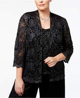 Alex Evenings Plus Size Glitter Lace Jacket & Shell