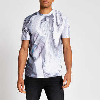 River Island White slim fit marble print T-shirt