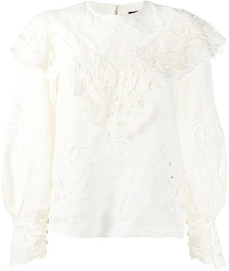 Isabel Marant Lace-Detail Ruffled Blouse