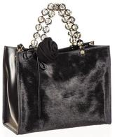Black Calf Hair and Leather Tote
