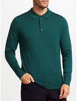 John Lewis Merino Wool Long Sleeve Polo Shirt