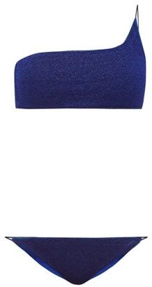 Oseree Lumiere Metallic One-shoulder Bikini - Womens - Blue