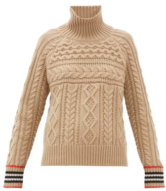 Burberry High-neck Cable-knit Cashmere Sweater - Camel