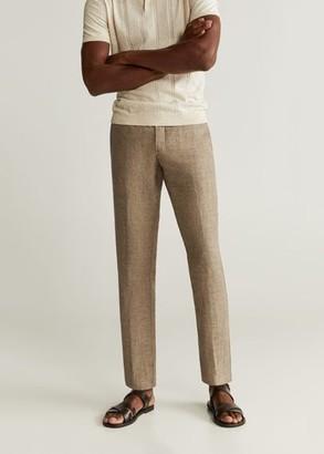 MANGO MAN - Slim-fit linen pants brown - 32 - Men