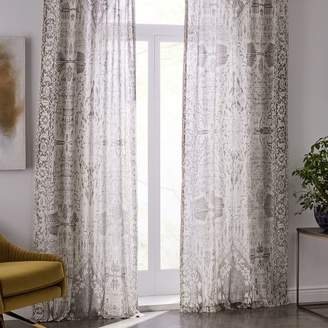 west elm Sheer Cotton Distressed Medallion Curtains (Set of 2) - Cloudburst