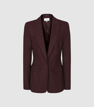 Reiss Lissia Jacket - Textured Single Breasted Blazer in Berry