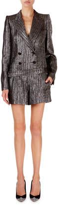 Isabel Marant Derron Shimmer-Ribbed All-In-One Blazer Romper