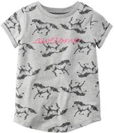 Carter's Baby Girl All-Over Patterned Screen-Print Slogan Tee