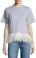 Opening Ceremony Feather-Trim Cropped Cotton Tee