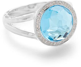 Ippolita Mini Lollipop Ring in Swiss Blue Topaz w/ Diamonds,