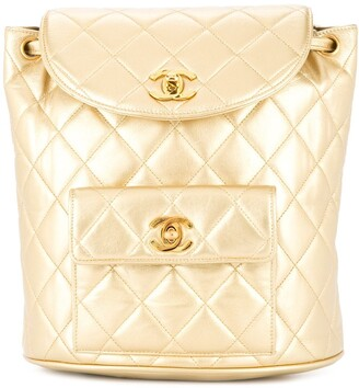 Chanel Pre Owned 1991-1994 CHANEL Quilted CC Chain Backpack