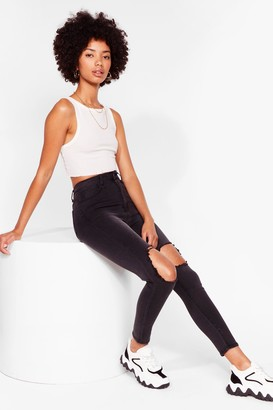 Nasty Gal Womens Because We Shred Straight Leg Jeans - Black - 6