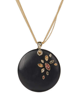 Alexis Bittar Navette Crystal Large Disc Pendant Necklace, Black